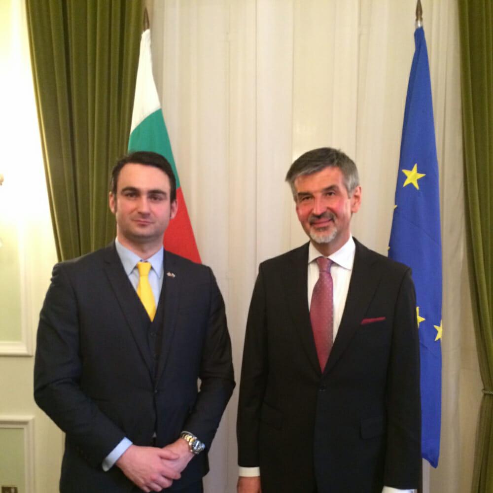 Ben Ambrose with the Bulgarian Ambassador