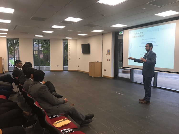 Ben Ambrose delivered a Study Medicine in Europe presentation to students at Bolton School