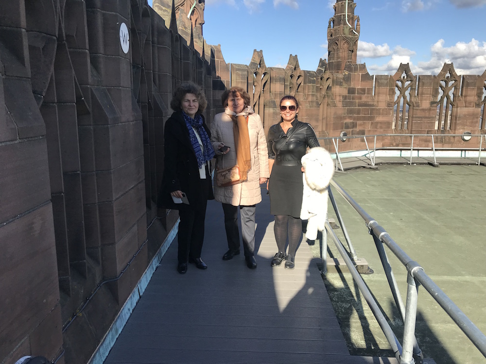 The team from Pleven Medical University at the top of Liverpool cathedral